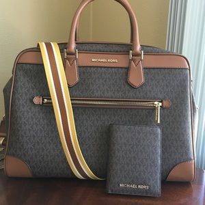 Michael kors duffel travel bag with passports case